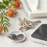 Men At Work Black & White Premium Round Keychain Keychains