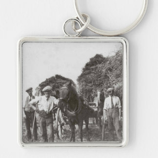 Men At Work Black & White Premium Square Keychain