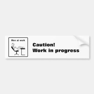 Men at work car bumper sticker