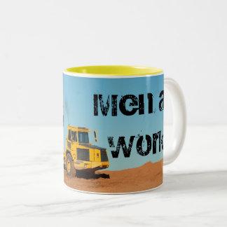 Men at Work Dump Truck Two-Tone Coffee Mug