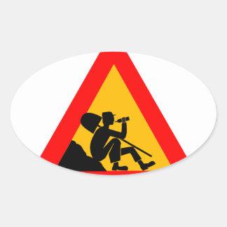 Men at Work SIgn Oval Sticker