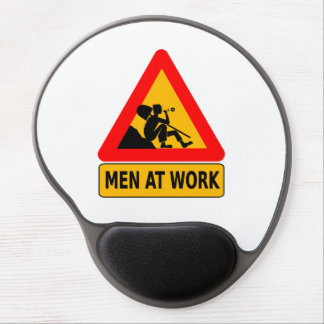 Men at work traffic sign gel mouse pad