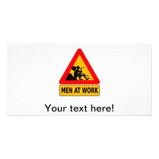 Men at work traffic sign photo card