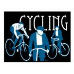 Men Bicycling Post Card