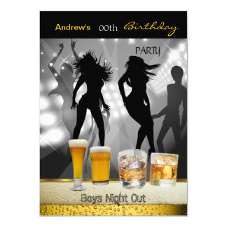 Men Birthday Party Beer Boys Night Out 3 4.5x6.25 Paper Invitation Card