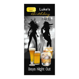 Men Birthday Party Beer Boys Night Out Gold 4x9.25 Paper Invitation Card