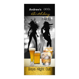 Men Birthday Party Beer Boys Night Out 4x9.25 Paper Invitation Card
