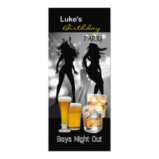 Men Birthday Party Beer Boys Night Out Long 2 4x9.25 Paper Invitation Card