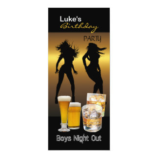 Men Birthday Party Beer Boys Night Out Long 4x9.25 Paper Invitation Card