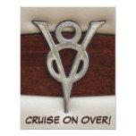 Men Birthday V8 Chrome Emblem Car Theme Card