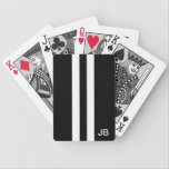 "Men Black and White Monogrammed Playing Cards<br><div class=""desc"">Are finding men playing cards on your to do list? Well, mark your list complete with these wonderful men playing cards! Featuring a black background with white racing stripes this design is man friendly. To make the design even more custom the cards can be personalized with your two initials. A...</div>"