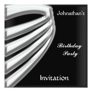 Men Black Silver Party Invitation save the date