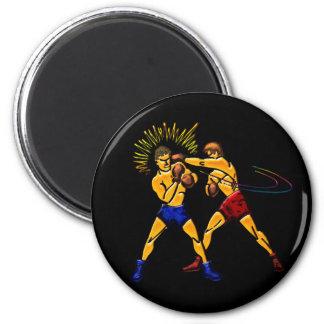 Men Boxing Print 2 Inch Round Magnet