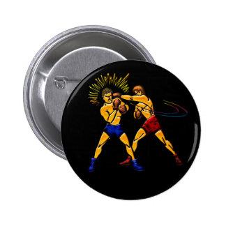 Men Boxing Print Pinback Button