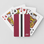"Men Burgundy Monogrammed Playing Cards<br><div class=""desc"">These men playing cards feature burgundy,  white and black racing stripes on them.  In addition,  they have a place for your monogram in white.  These playing cards are a classic gift for your man.  Copyright Kathy Henis</div>"