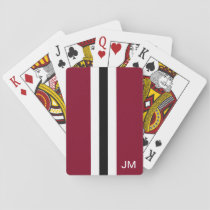 Men Burgundy Monogrammed Playing Cards