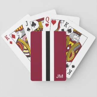 Men Burgundy Monogrammed Playing Cards