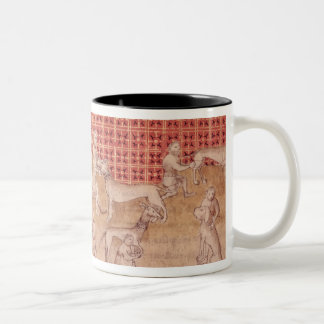 Men caring for hunting dogs Two-Tone coffee mug