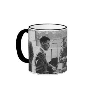 Men Chatting Black & White Image Black Ringer Mug