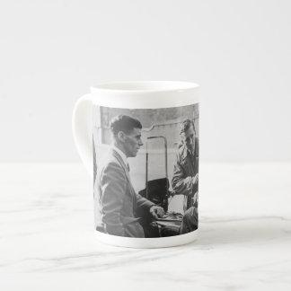 Men Chatting Black & White Image Bone China Cup Tea Cup