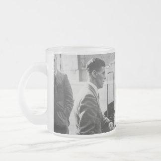 Men Chatting Black & White Image Frosted Glass Mug