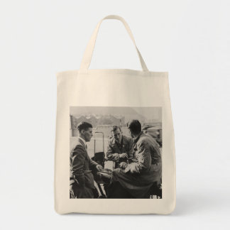 Men Chatting Black & White Image Grocery Tote Bag