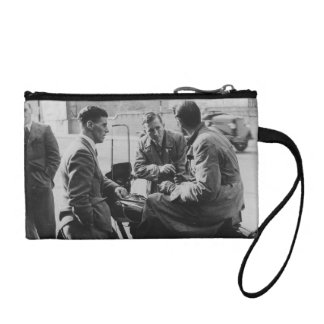 Men Chatting Black & White Image Key Coin Clutch Coin Purses