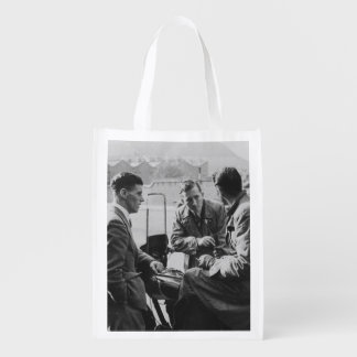 Men Chatting Black & White Image Re-Usable Bag
