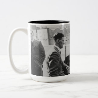 Men Chatting Black & White Image Two-Tone Mug