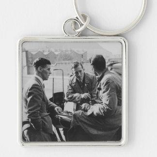 Men Chatting Image Premium Large Square Keychain