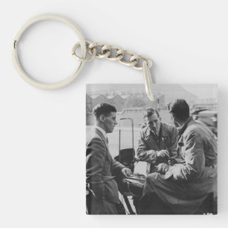 Men Chatting Image Single Side Square Keychain