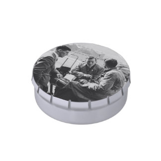 Men Chatting Image White Jelly Belly Snip Snap Tin Jelly Belly Candy Tin