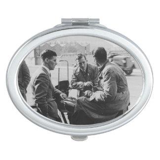 Men Chatting Old Black & White Image Oval Mirror Travel Mirrors
