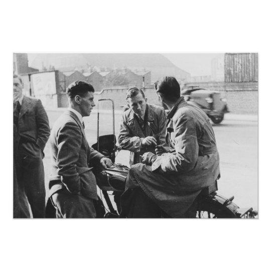 Men chatting old black white image photo prints