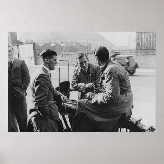 Men Chatting Old Black & White Image Value Poster