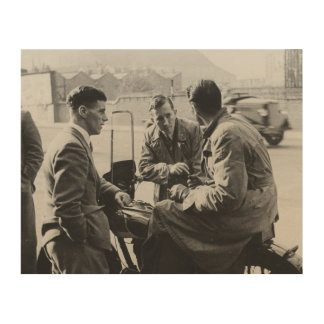 Men Chatting Old Black & White Image Wood Canvas