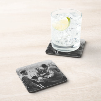 Men Chatting Old Image Hard Plastic Coasters x 6