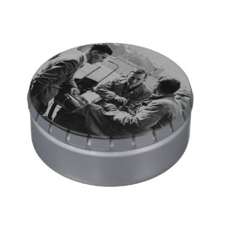 Men Chatting Old Image Metal Giant Jelly Belly Tin