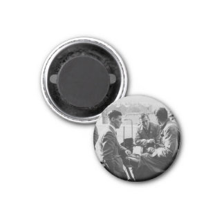 Men Chatting Old Image Small Round Magnet Fridge Magnets