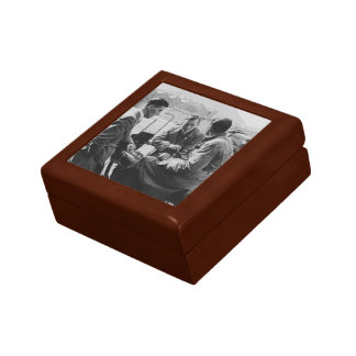 Men Chatting Old Image Small Square Gift Box