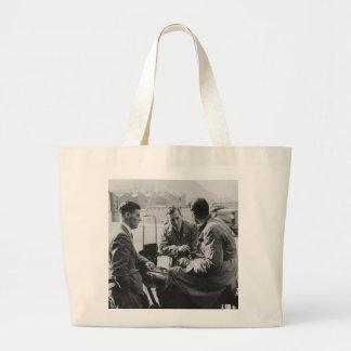Men Chatting Vintage Black & White Image Jumbo Bag