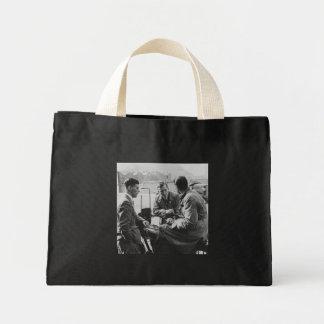 Men Chatting Vintage Black & White Image Tiny Tote