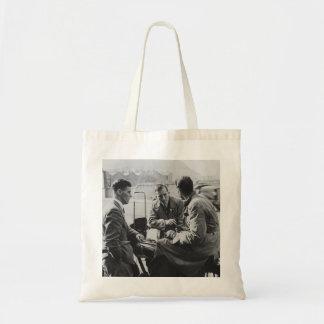 Men Chatting Vintage Black & White Image Tote Bag