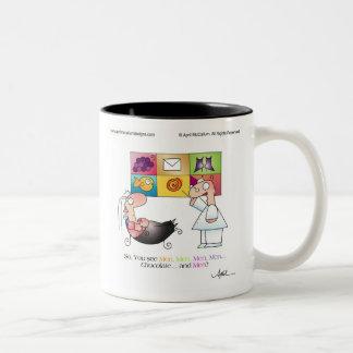 MEN & CHOCOLATE by April McCallum Two-Tone Coffee Mug