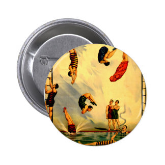 Men diving into Pool Vintage 1898 Circus Poster Button