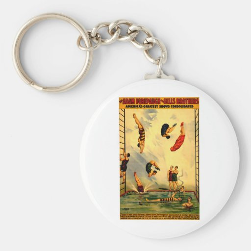 Men diving into Pool Vintage 1898 Circus Poster Key Chains