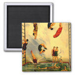 Men diving into Pool Vintage 1898 Circus Poster Magnets