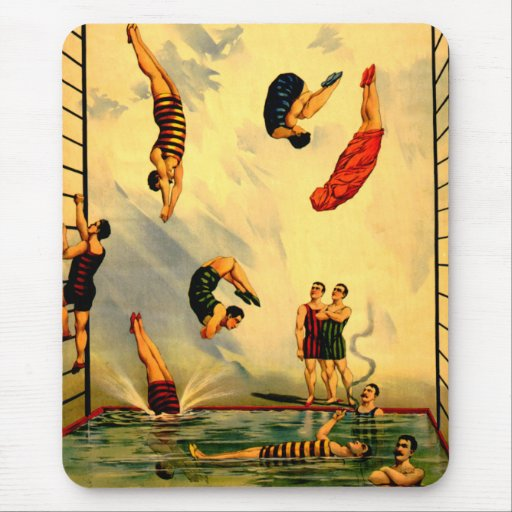 Men diving into Pool Vintage 1898 Circus Poster Mousepads