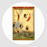 Men diving into Pool Vintage 1898 Circus Poster Round Stickers