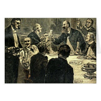 Men Drinking at the Club Vintage Illustration Card